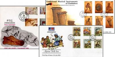 ジンバブエ古切手全3セット 伝統楽器・ロックペインティング・昔話