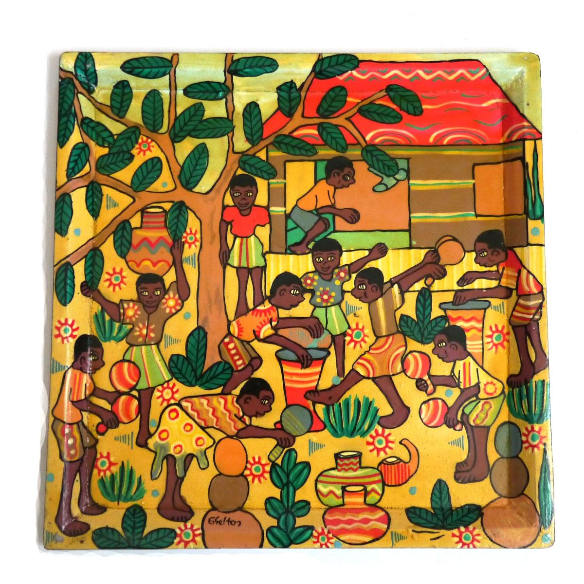 ジンバブエ ペイント画 「ムリンダシャカ村の祭り」ZP-01