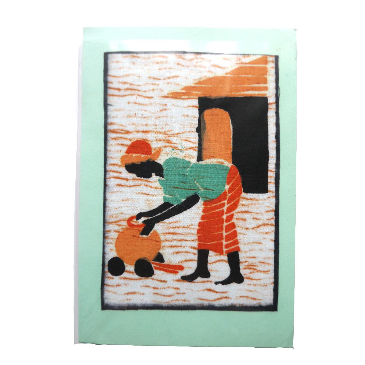ジンバブエポストカード(壺と女性) PC-06